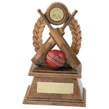 JR6-RF566 Bronze/Gold 'Cricket' Oval Wreath Trophy (1In Centre)