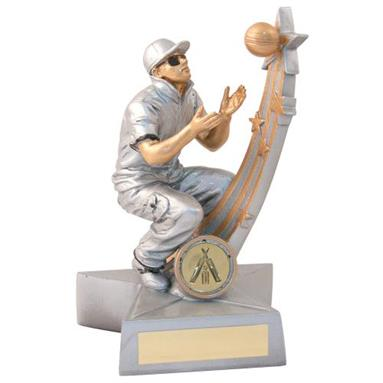 JR6-RF875 Silv/Gold/Blk Male Cricket 'Star Action' Fielder Trophy