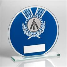 JR6-TD229 Jade Glass Round Plaque(Blue/Silver) With Cricket Insert Trophy