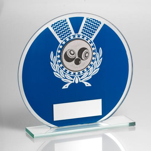 JR7-TD229 Jade Glass Round Plaque(Blue/Silver) With Lawn Bowls Insert Trophy
