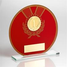 JR9-TD129 Jade Glass Round Plaque(Red/Gold) + Wreath Trophy