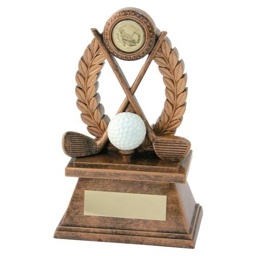 JR2-RF562 Bronze/Gold 'Golf' Oval Wreath Trophy
