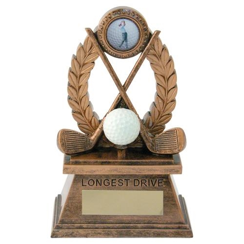 JR2-RF562LD Bronze/Gold 'Golf-Longest Drive' Oval Wreath Trophy (1In Centre)