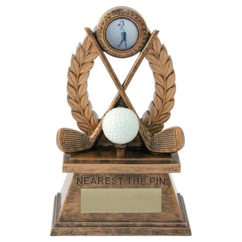 JR2-RF562NTP Bronze/Gold 'Golf-Nearest The Pin' Oval Wreath Trophy