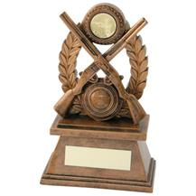 JR24-RF569 Bronze/Gold 'Shooting' Oval Wreath Trophy (1In Centre)