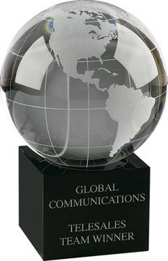 Crystal Globe on Black Crystal Stand