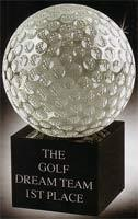 Crystal Golf Balls on Black Crystal Stands