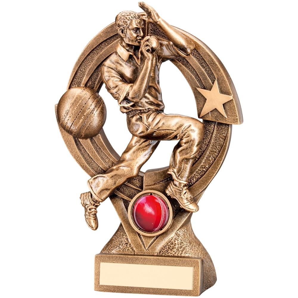 Classic Gold Cricket Bowler Quartz Figure Trophy JR6 RF219