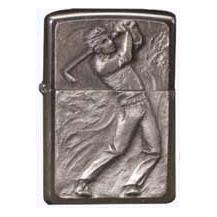 Brushed Chrome Zippo - Embossed Golfer