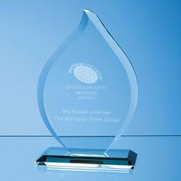 16cm x 12mm Jade Glass Flame Award Crystal Galleries