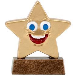 Gold Happy Face Mini Star Trophy A1626