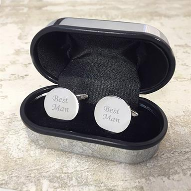 Best Man Cufflinks Round SIlverplated