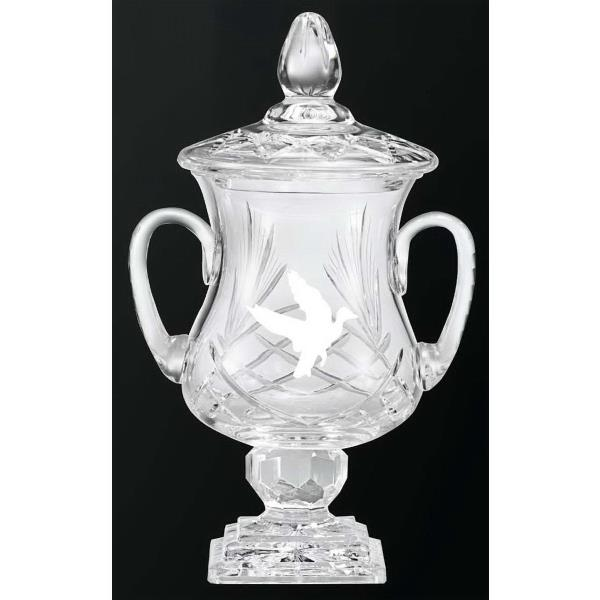 16 inch 24% Lead Crystal Trophy with Handles and Lid