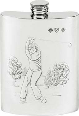 6oz Pewter Golfing Hip Flask
