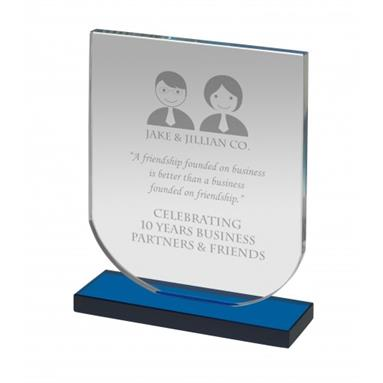 NTC005C_Shield_Shape_Blue_and_Clear_Glass_Award