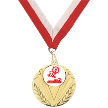 Little Kickers Gold Medal and Red White Ribbon