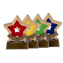 Coloured House Mini Star Awards available in Red, Greent, Blue and Yellow - A951