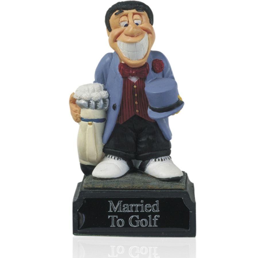 4inch Hand Painted Golf Figure -  Married to Gold - H04
