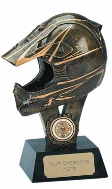 Antique Gold Resin Motor Racing Helmet with Gold Trim - 7.25 inch - Flat Back - A327B