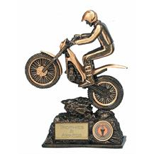 Dual Tone Resin Trials Bike Figure Trophy - 9.5 inch - A379B