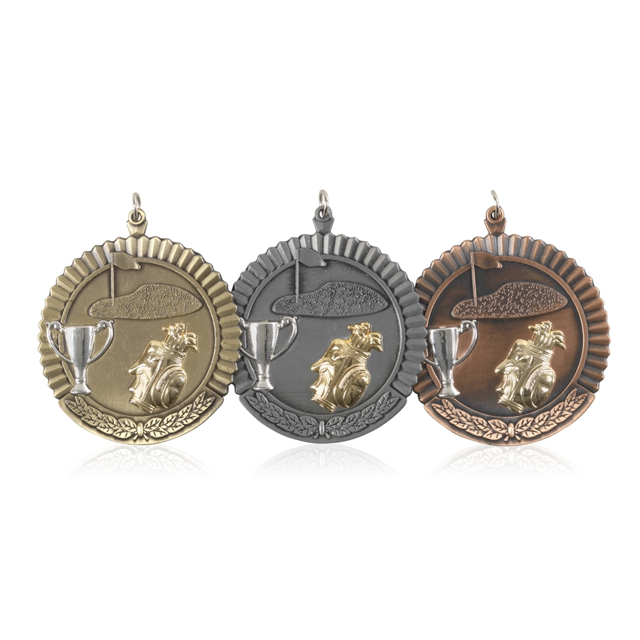 High Quality 50mm Golf Medals - Available in Gold, Silver and Bronze - MD04