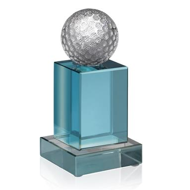 2 inch Golf Ball on Coloured Crystal Stem -  Stands 5.5 inches tall - JOG011