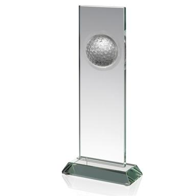 Oblong Glass Column with Golf Ball Inset - Available in 3 sizes