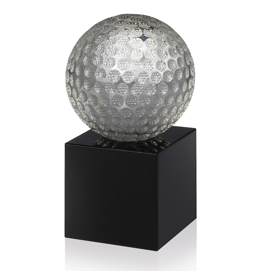 Glass Golf Ball on Black Crystal Base