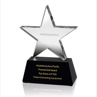 Clear Crystal Star Award on Black Crystal Base - AC87