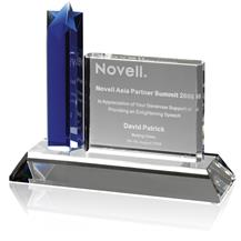 Blue Crystal Oblong Star Column Award set in Clear Crystal Base - AC74