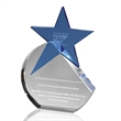 Blue Crystal Star Award set in Rounded Clear Crystal Base