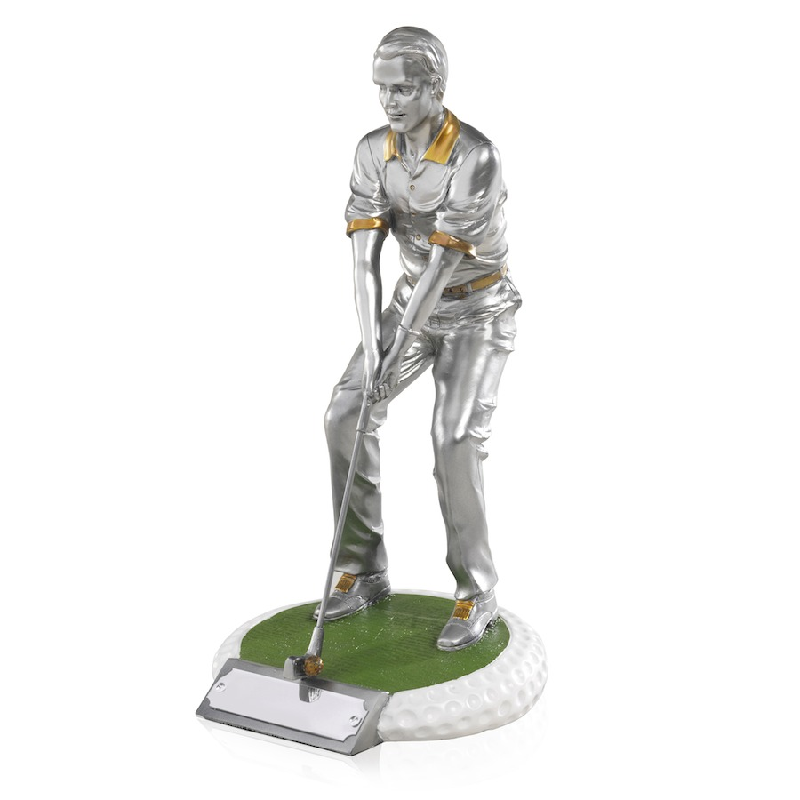 Male Golfer Standing on Golf Ball Effect Base
