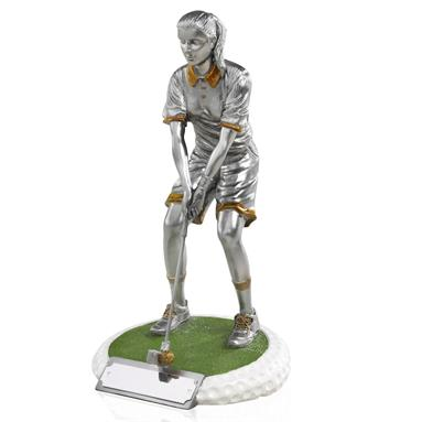 Female Golfer Standing on Golf Ball Effect Base - Available in 3 sizes - GX001