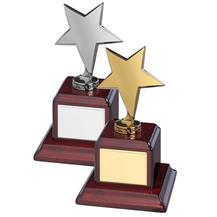 Highly Polished Bright Finish Solid Metal Star Awards - Available in Gold or Silver finish