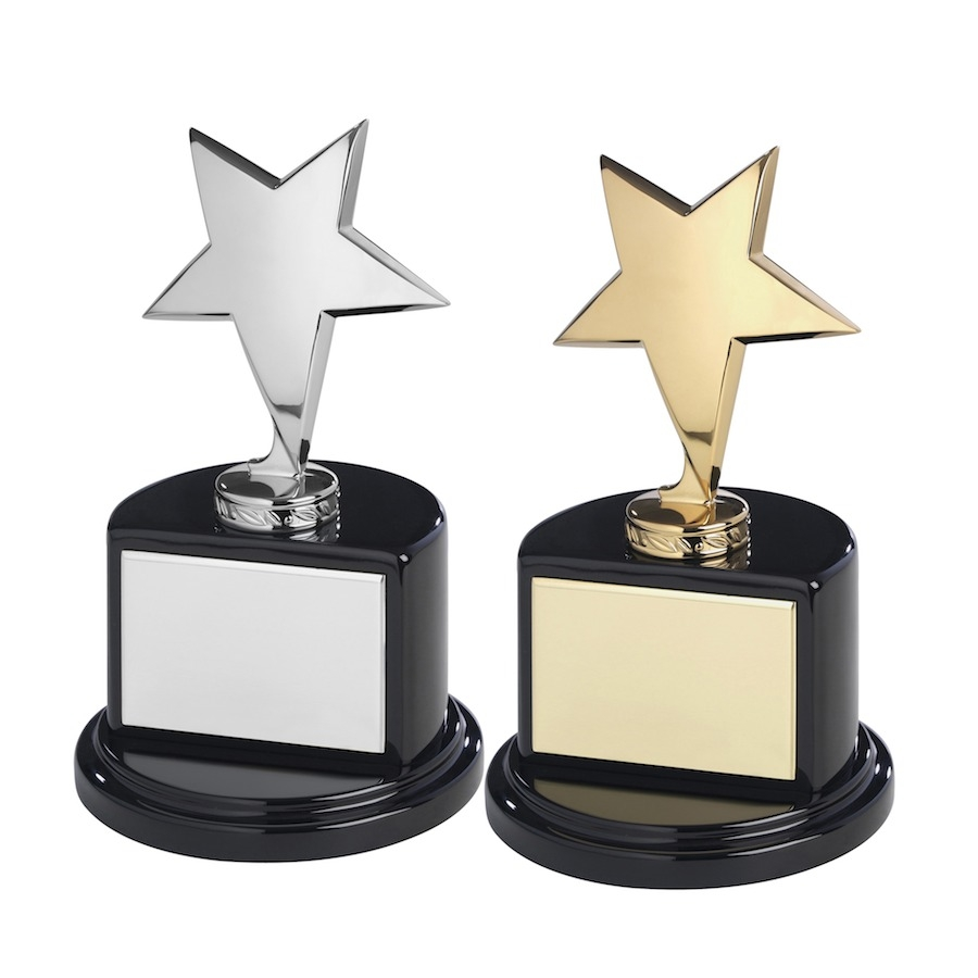 Solid Metal Star Awards on Black Piano Wood Bases  - Available in Gold & Silver Finishes