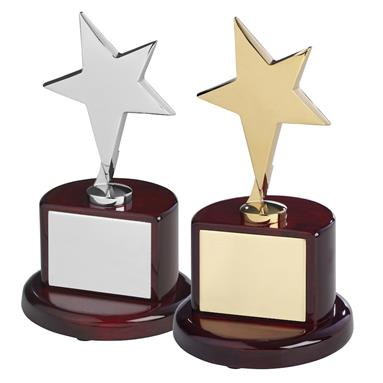 Solid Metal Star Awards on Piano Wood Bases  - Available in Gold & Silver Finishes