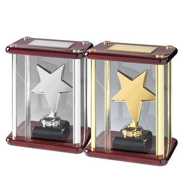 Solid Metal Stars in Elegant Piano Wood Cases - Available in Gold and Silver Finishes