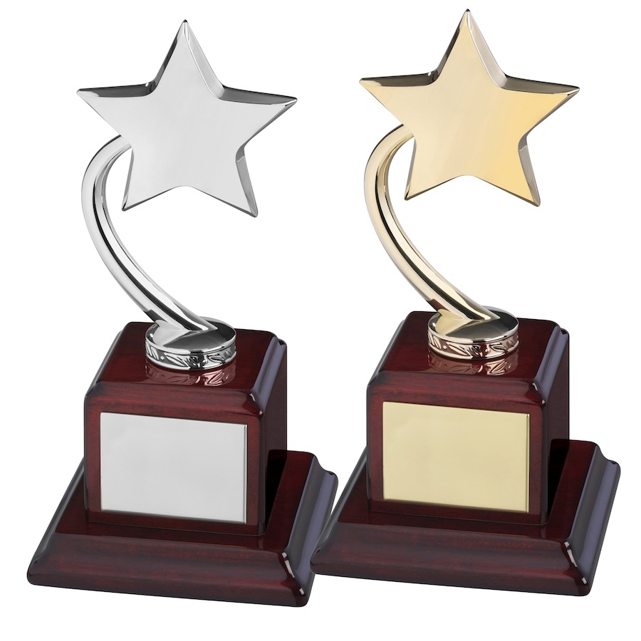 Gold and Silver Finish Shooting Stars on Piano Wood Bases.