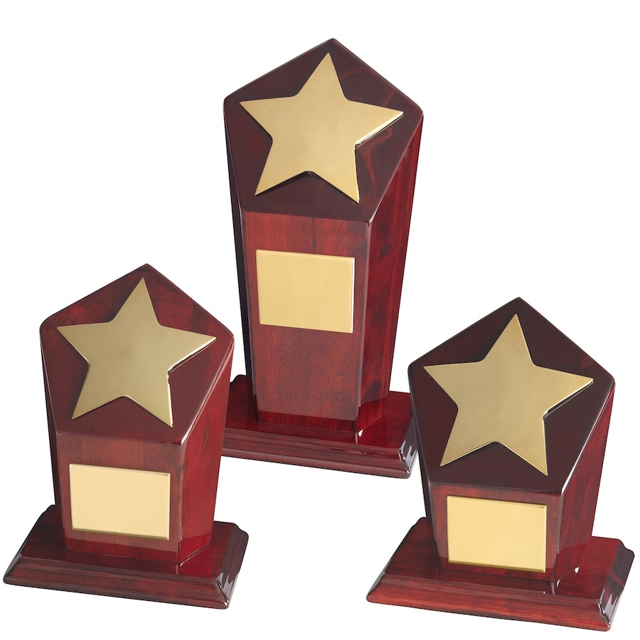 Gold Finish Metal Stars on Hexagonal Wood Bases - Available in 3 sizes