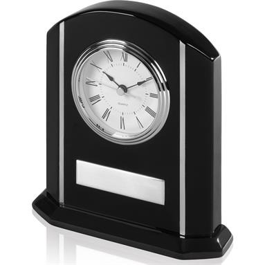 Desk Top Presentation Clock in Black Piano Wood with Metal Inlays