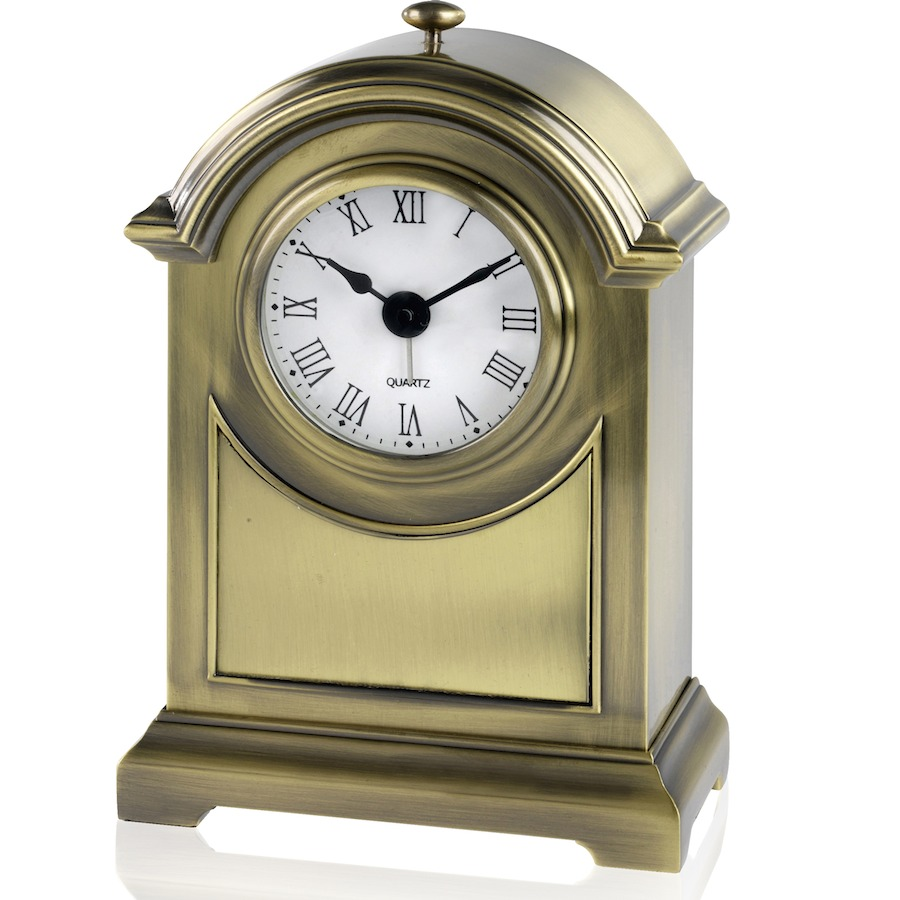 Heavy Metal Antique Brass Finish Arch Clock
