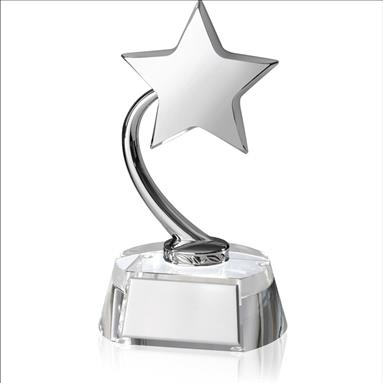 Silver Finish Shooting Star on clear Crystal Base - TZ016