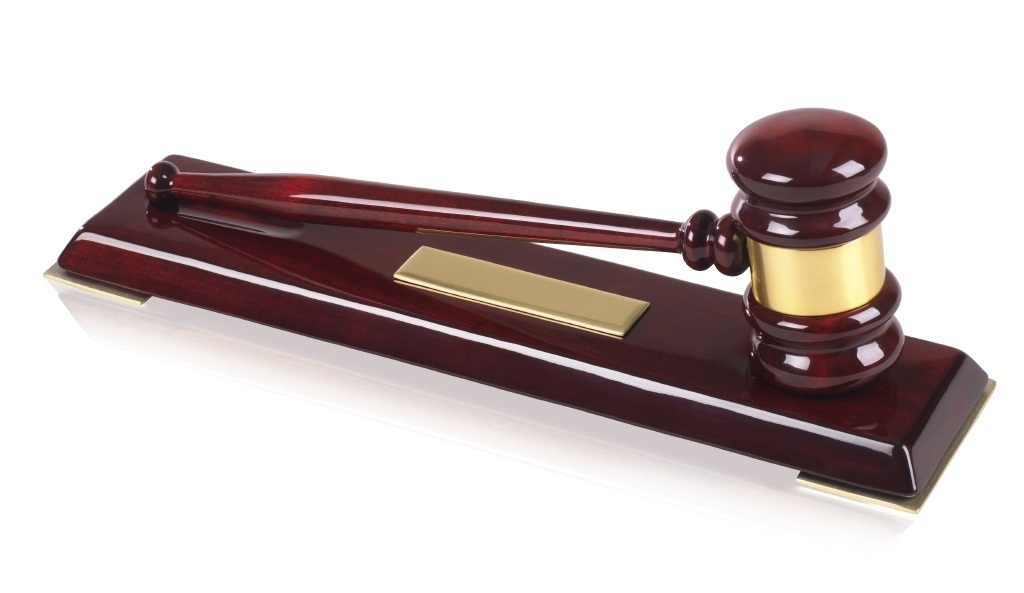 Piano Wood Finish Gavel and Block Sets with Engraving Plates - 12.5inch - TZ025