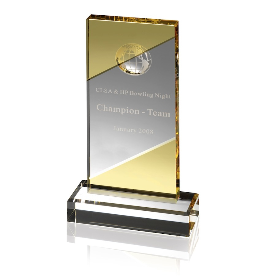 Optical Globe Award with Gleaming Yellow Crystal -  AC77