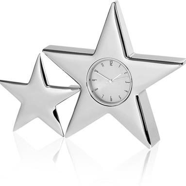 Nickel Silver Finish Two Star Clock - BG063