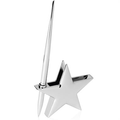 Nickel Finish Star Name Card Holder with Pen - BG070