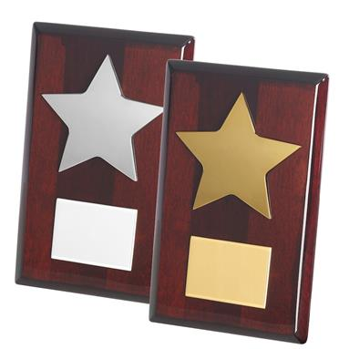 Gold and Silver Finish Metal Stars on Wooden Plaques with Engraving Plates - TZ011