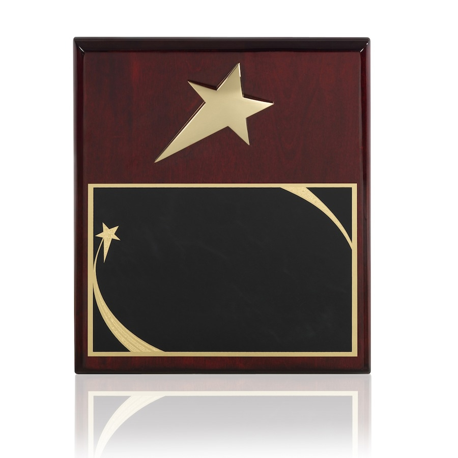 Gold Finish Shooting Star Award with Brass Engraving Plate - TZ013