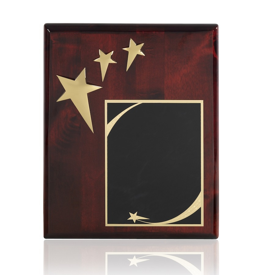 Gold Finish Triple Star Award Plaque with Solid Brass Engraving Plate - TZ012