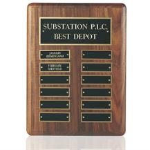 American Walnut Wall Hanging Perpetual Plaque - 12 Entries - WP02